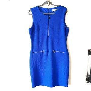 Calvin Klein blue texture zipper trim sheath dress